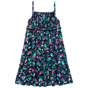 Mädchen Kleid mit Tropical-Print