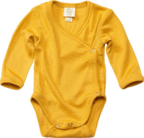 ALANA Baby Wickelbody, Gr. 62/68, in Bio-Wolle und Seide, gelb, für Mädchen und Jungen