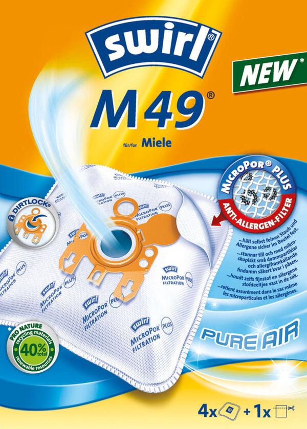 Swirl Staubsaugerbeutel M49 MicroPor® PLUS PureAir 4 Stück