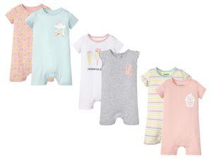 LUPILU® Baby Pyjama Mädchen, 2 Stück, Schulterknöpfung, aus reiner Baumwolle