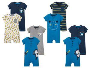 LUPILU® Baby Pyjama Jungen, 2 Stück, Knöpfung im Schritt, aus reiner Baumwolle