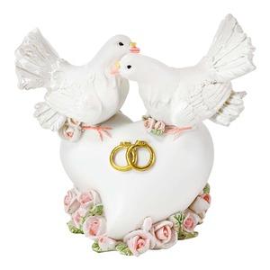 Taubenpaar auf Herz für Geldgeschenke, ca. 9x5x8cm