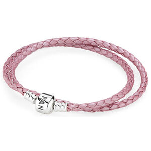 "Pandora Zweifaches Lederarmband ""590705CMP-D2"", rosa, 38 cm"