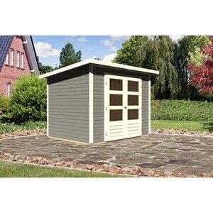 Karibu Holz-Gartenhaus Sitten 3 Terragrau B x T: 242 cm x 182 cm