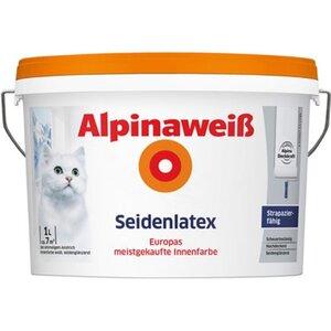 Alpinaweiß Seidenlatex Innenfarbe 1 l