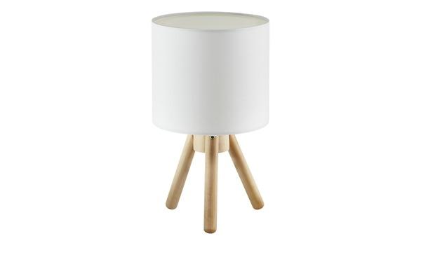 Tischleuchte, 1-flammig, Stoffschirm weiß
