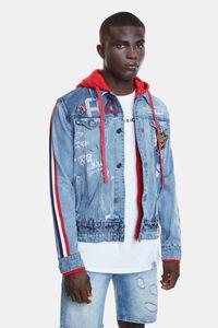 Hybrid-Jeansjacke mit Patches, Streifen und Kapuze