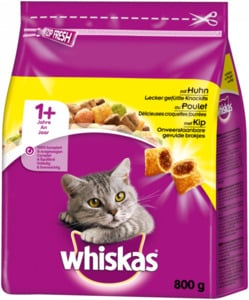 5 x 800g Whiskas Adult 1+ mit Huhn