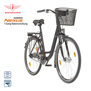 Alu-Citybike Red 5.0 26er oder 28er - Shimano Drehgriffschalter - Alu-V-Bremse vorne, Rücktrittbremse - Rahmenhöhe:  43 cm (26er),  51 cm (28er) - Lenkerkorb - Preis für vormontierte Räder