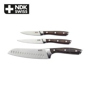 Messer-Set - Griffe aus Pakkaholz - je 1 Santokumesser, Allzweckmesser und Schälmesser - Klingen aus rosfreiem Edelstahl