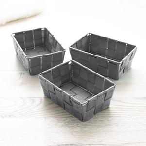 Bella Casa Aufbewahrungskörbe, 3er-Set, ca. 15 x 10,5 x 5,5 cm - Grau