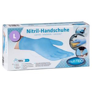 Multitec Nitril Einmalhandschuhe 100er, Größe L - Blau