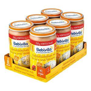 Bebivita Früchtegläschen Apfelstückchen mit Banane und Vollkorn 250 g, 6er Pack