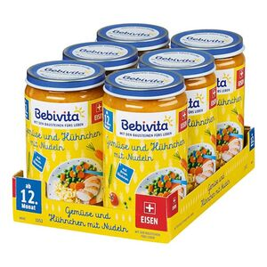 Bebivita Gemüse und Hühnchen mit Nudeln 250 g, 6er Pack