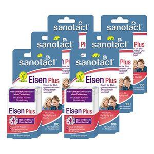 sanotact Eisen Plus Mini-Tabletten 100 Tabletten, 6er Pack