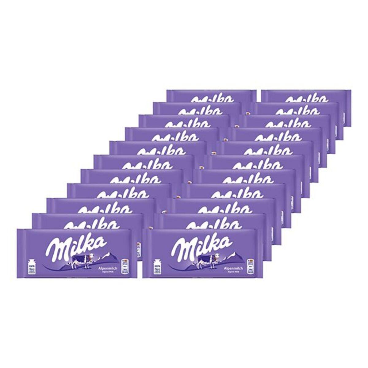 Bild 1 von Milka Tafelschokolade Alpenmilch 100 g, 24er Pack