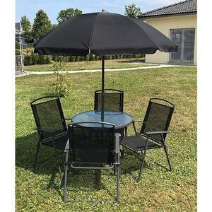 VCM 6-teiliges Gartenmöbel-Set (Tisch, Stühle, Schirm)