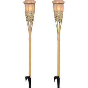 Outsunny Solarlampe im 2er-Set Bambus 12 x 116 cm (ØxH)   Gartenlampe Solarleuchte Erdspießleuchte mit Solar