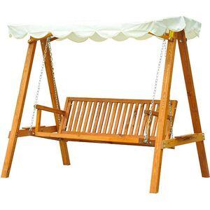 Outsunny Hollywoodschaukel als 3-Sitzer cremeweiß, natur 205 x 130 x 185 cm (LxBxH)   Schaukelbank Schaukel mit Sonnendach Gartenschaukel