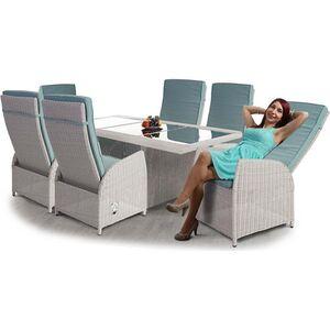 Luxus Poly-Rattan-Garnitur Burgos, Premium Alu-Sitzgruppe Tisch + 6 verstellbare Stühle ~ hellgrau