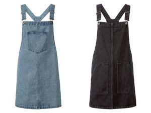 ESMARA® Latzrock Damen, in Denim-Qualität, mit verstellbaren Trägern, aus reiner Baumwolle
