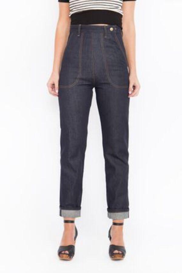 Queen Kerosin Damen Straight-jeans Original 50s Fit Red Selvedge