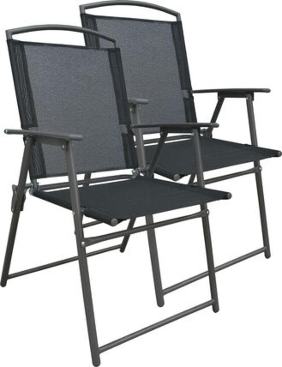 Bild 1 von Vcm Set Gartenstuhl Stühle Stuhl Metall Textilene klappbar, 2 Stühle: Anthrazit