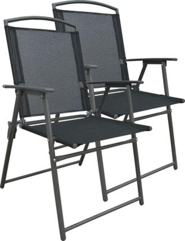 Vcm Set Gartenstuhl Stühle Stuhl Metall Textilene klappbar, 2 Stühle: Anthrazit