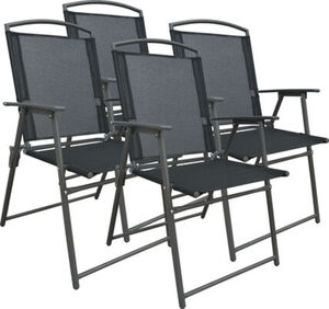 Vcm Set Gartenstuhl Stühle Stuhl Metall Textilene klappbar, 4 Stühle: Anthrazit