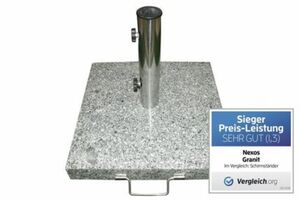 Vcm Sonnenschirmständer 25 kg Granit eckig grau 40 x40cm Edelstahlgriff Rollen