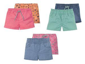 LUPILU® Kleinkinder Shorts Mädchen, 2 Stück, mit Eingrifftaschen, aus reiner Baumwolle