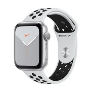 Apple Watch S5 Nike GPS 44mm Aluminium Silber Sportarmband Platinum Schwarz