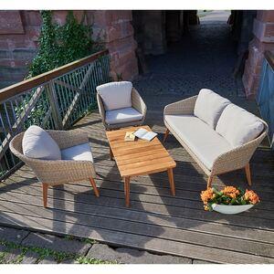 Holz-Loungeset Murcia mit Polsterauflagen