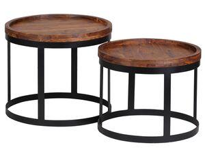 Wohnling Beistelltisch »AKOLA«, 2er Set,Tischplatte aus Sheesham Massivholz, Metallgestell