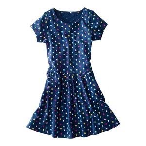 Kinder-Mädchen-Kleid mit buntem Punktemuster