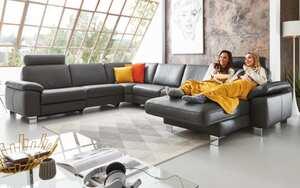 Hukla - Wohnlandschaft Sofa Concept in Torro schwarz, mit Funktion