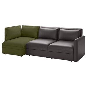 VALLENTUNA                                3er-Sitzelement, mit Stauraum, Murum/Orrsta schwarz/olivgrün