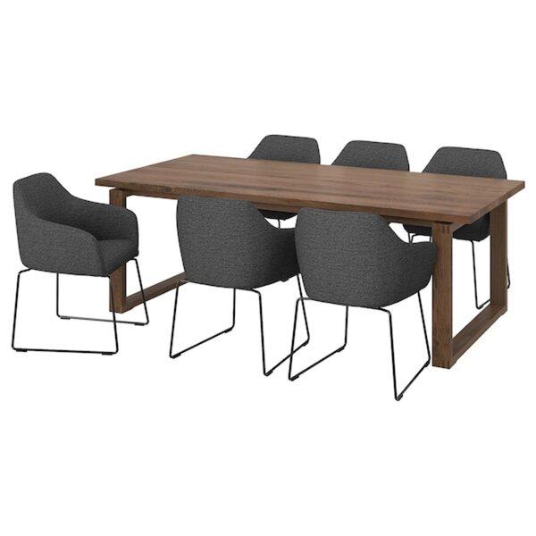 MÖRBYLÅNGA / TOSSBERG                                Tisch und 6 Armlehnstühle, Eichenfurnier braun las., Metall grau, 220x100 cm