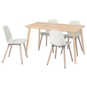 YPPERLIG NILSOVE Tisch und 4 Stühle EscheRattan weiß 200x90 cm