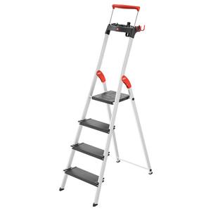 Hailo Stehleiter 'L100 TopLine' 4 Stufen, silbern