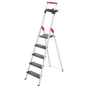 Hailo Stehleiter 'L100 TopLine' 5 Stufen, silbern