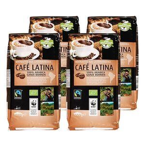 Bio Fairtrade Cafe Latina ganze Bohne 1000 g, 4er Pack