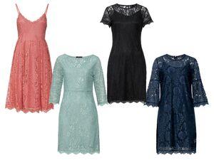 ESMARA® Kleid Damen, Knopf- oder Reißverschluss, leichtes Textilfutter, elastische Spitze