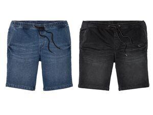 LIVERGY® Bermuda Jeans Herren, Gummizugbund mit Bindeband, mit Baumwolle