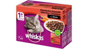 Whiskas® Portionsbeutel 1+ Klassische Auswahl in Sauce 12X100G  Multipack