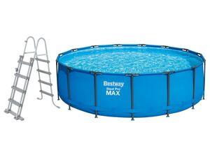 Bestway Pool »Steel Pro Max Framepool«, Filterpumpe, Sicherheitsleiter, Abdeckplane