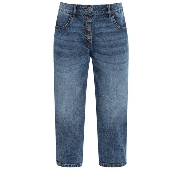 3/4 Damen Slim-Jeans mit Knopfleiste