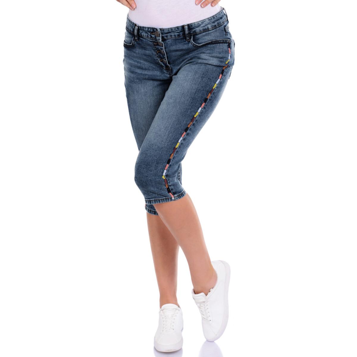 Bild 2 von 3/4 Damen Slim-Jeans mit Knopfleiste