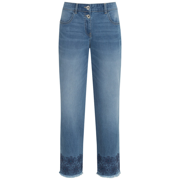 7/8 Damen Straight-Jeans mit Stickerei