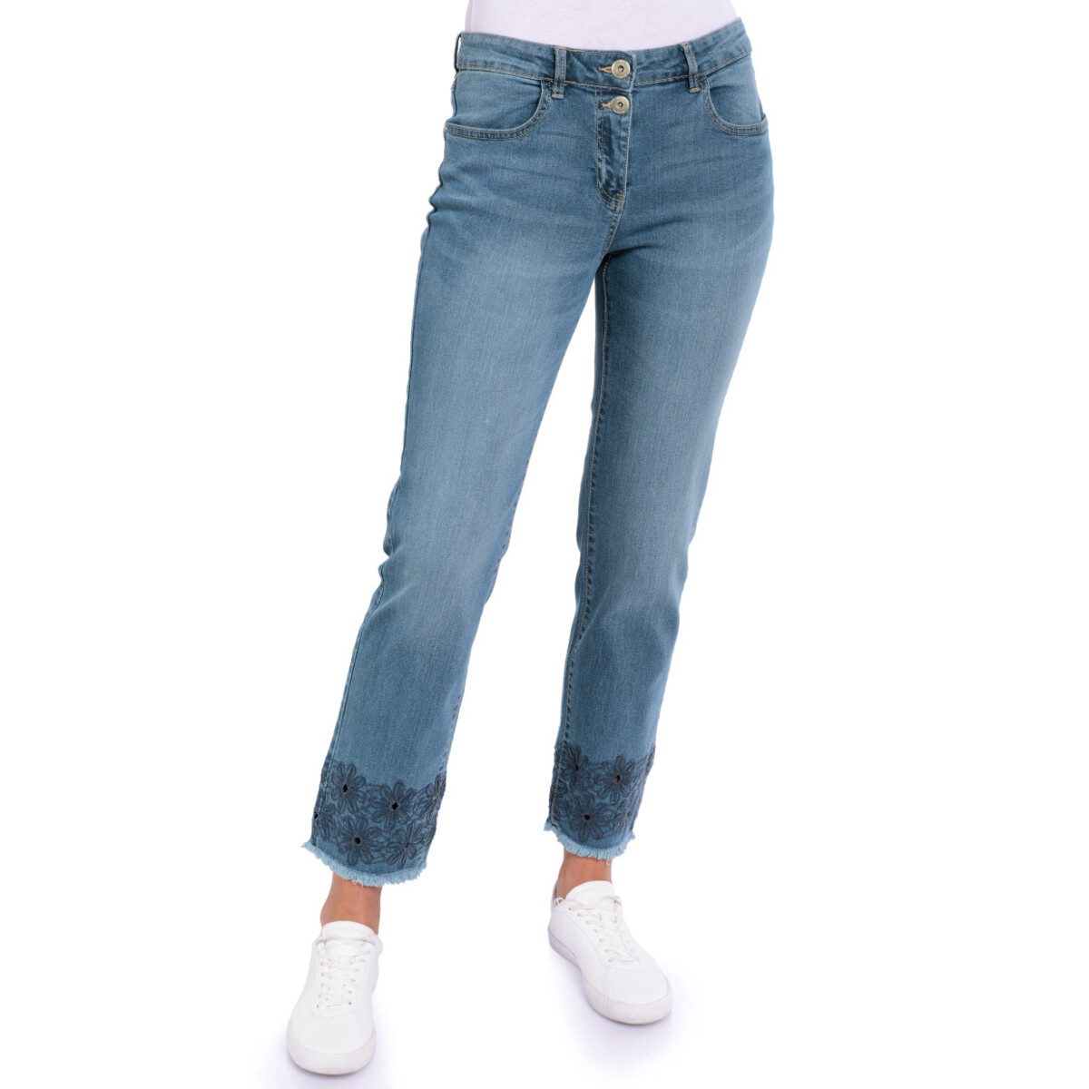 Bild 2 von 7/8 Damen Straight-Jeans mit Stickerei